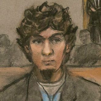 08 Apr 2015, Boston, Massachusetts, USA --- epa04696179 An artist sketch of Dzhokhar Tsarnaev (2L) and his defense team as the guilty verdicts on all charges were read in the John J Moakley Federal Courthouse against Tsamaev in the Boston Marathon bombing trial in Boston, Massachusetts, USA, 08 April 2015. Dzhokhar Tsarnaev along with his brother Tamerlan Tsarnaev set off home made bombs at the Boston Marathon on 15 April 2013 killing three people and injuring hundreds. EPA/JANE FLAVELL COLLINS --- Image by ? JANE FLAVELL COLLINS/epa/Corbis
