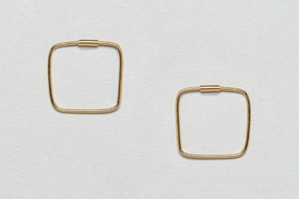 ASOS DESIGN Gold Plated Sterling Silver Square Hoop Earrings