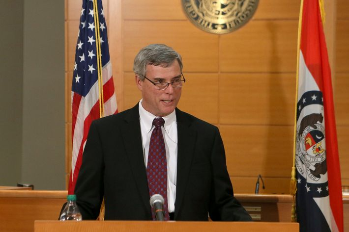St. Louis County Prosecutor Robert McCulloch announces the grand jury's decision not to indict Ferguson police officer Darren Wilson in the shooting death of Michael Brown on November 24, 2014, at the Buzz Westfall Justice Center in Clayton, Missouri. Ferguson has been struggling to return to normal after Brown, an 18-year-old black man, was killed by Darren Wilson, a white Ferguson police officer, on August 9. His death has sparked months of sometimes violent protests in Ferguson.