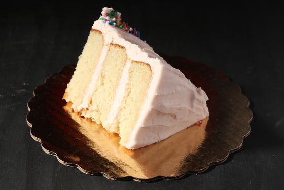 Vanilla cake with pink frosting.