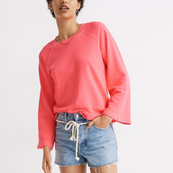 Madewell Terry Raglan Sweatshirt in Neon