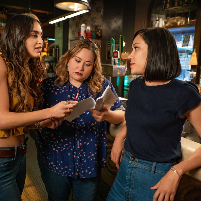 Melissa Barrera, Tanya Saracho, and Mishel Prada on the Vida set.