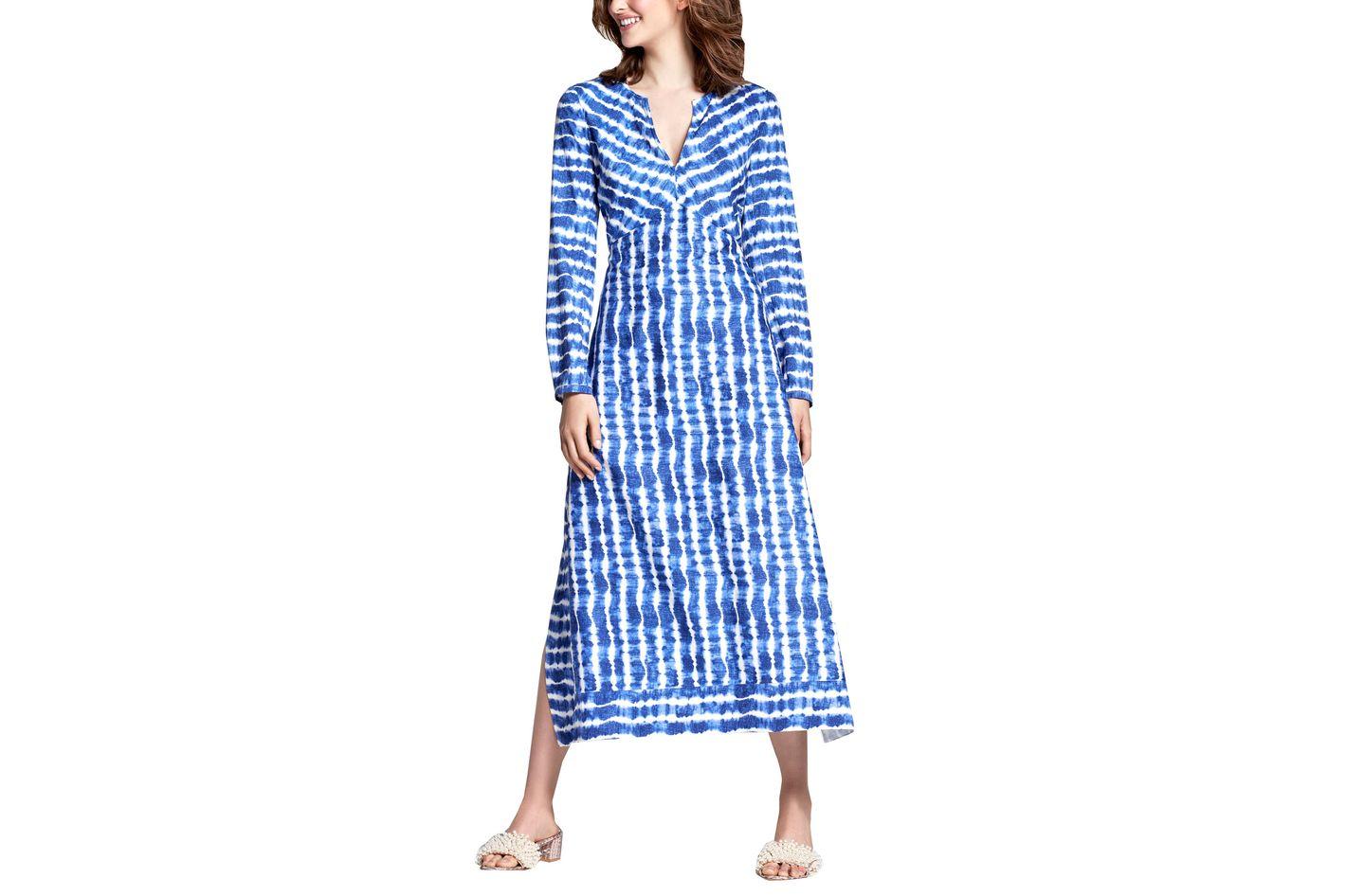 Tory Burch Long-Sleeve Tie-Dye Maxi Dress