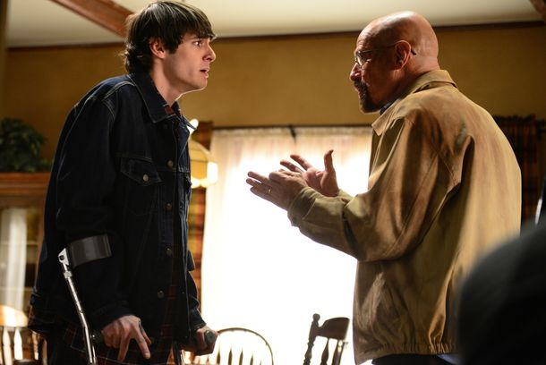 Walter White, Jr. (RJ Mitte) and Walter White (Bryan Cranston) - Breaking Bad _ Season 5, Episode 14 - Photo Credit: Ursula Coyote/AMC