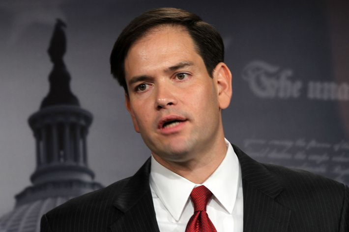 WASHINGTON - MAY 11: U.S. Sen. Marco Rubio (R-FL) speaks during a news conference about the crisis in Syria May 11, 2011 on Capitol Hill in Washington, DC. Lieberman and Rubio will introduce a resolution to calling on the U.S. government to have a tougher stance in the crisis in Syria. (Photo by Alex Wong/Getty Images)