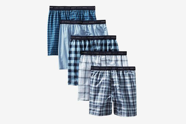 Hanes Men's Tagless Tartan Boxers with Exposed Waistband (5 Pack)