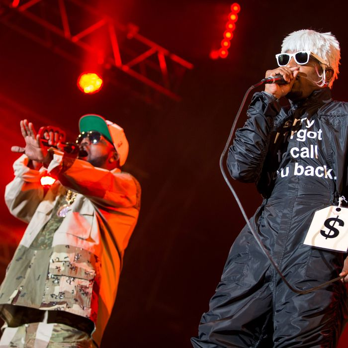 Andre 3000 (R) and Big Boi of Outkast perform on stage at Openair Frauenfeld on July 10, 2014 in Frauenfeld, Switzerland.