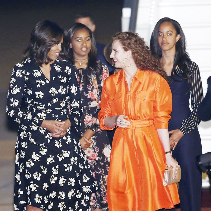 sasha and malia obama wore business casual chokers in morocco