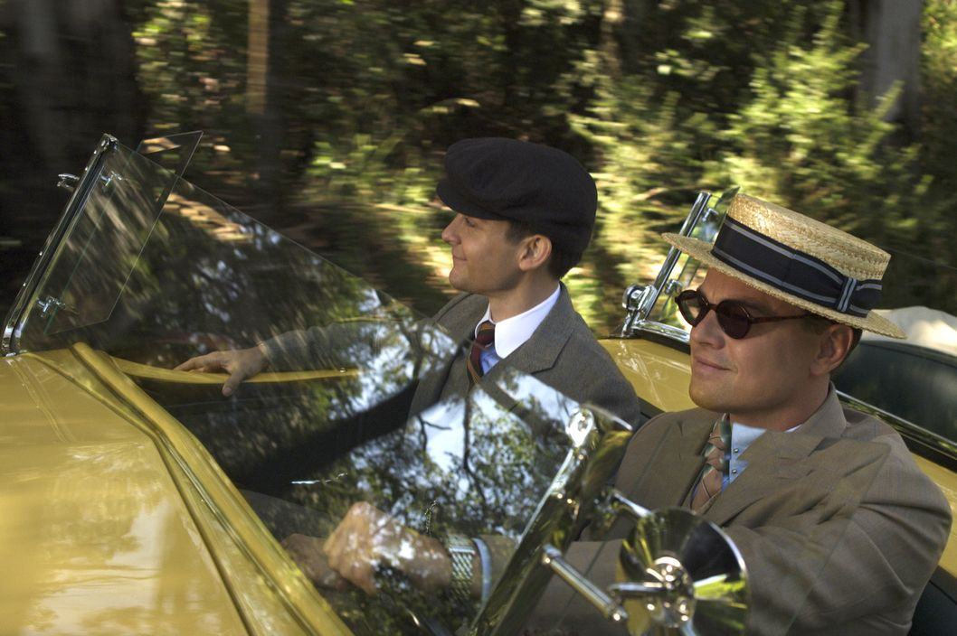 "(L-r) TOBEY MAGUIRE as Nick Carraway and LEONARDO DiCAPRIO as Jay Gatsby in Warner Bros. Pictures' and Village Roadshow Pictures' drama ""THE GREAT GATSBY,"" a Warner Bros. Pictures release."