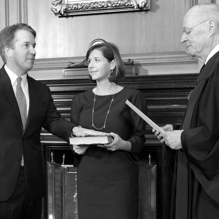 Brett Kavanaugh being sworn in to the Supreme Court.