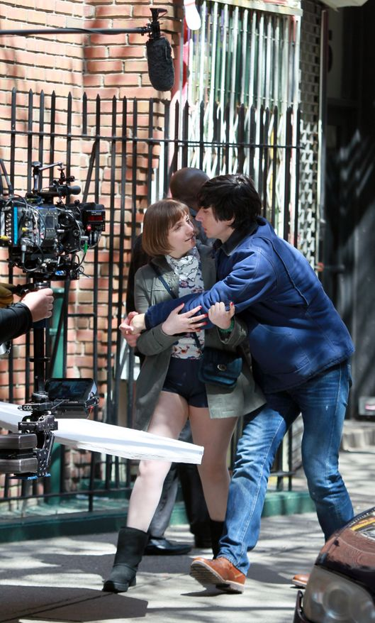 "NEW YORK, NY - APRIL 16:  Lena Dunham and Adam Driver sighting on the set of  ""Girls""on April 16, 2014 in New York City.  (Photo by Steve Sands/GC Images)"