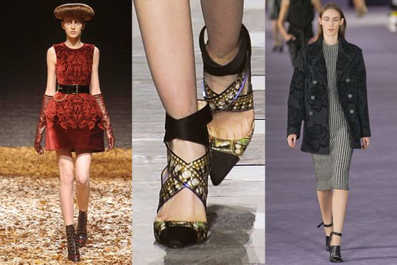 """There's lots of velvet coming down the pipeline. You saw elements of it in the applique jackets at Christopher Kane and the velvet-trimmed dresses at McQ. And Peter Pilotto's cap-toe shoes were so dynamic.""  <b>Must-have</b>: Nicholas Kirkwood for Peter Pilotto velvet cap-toe shoe (center)"