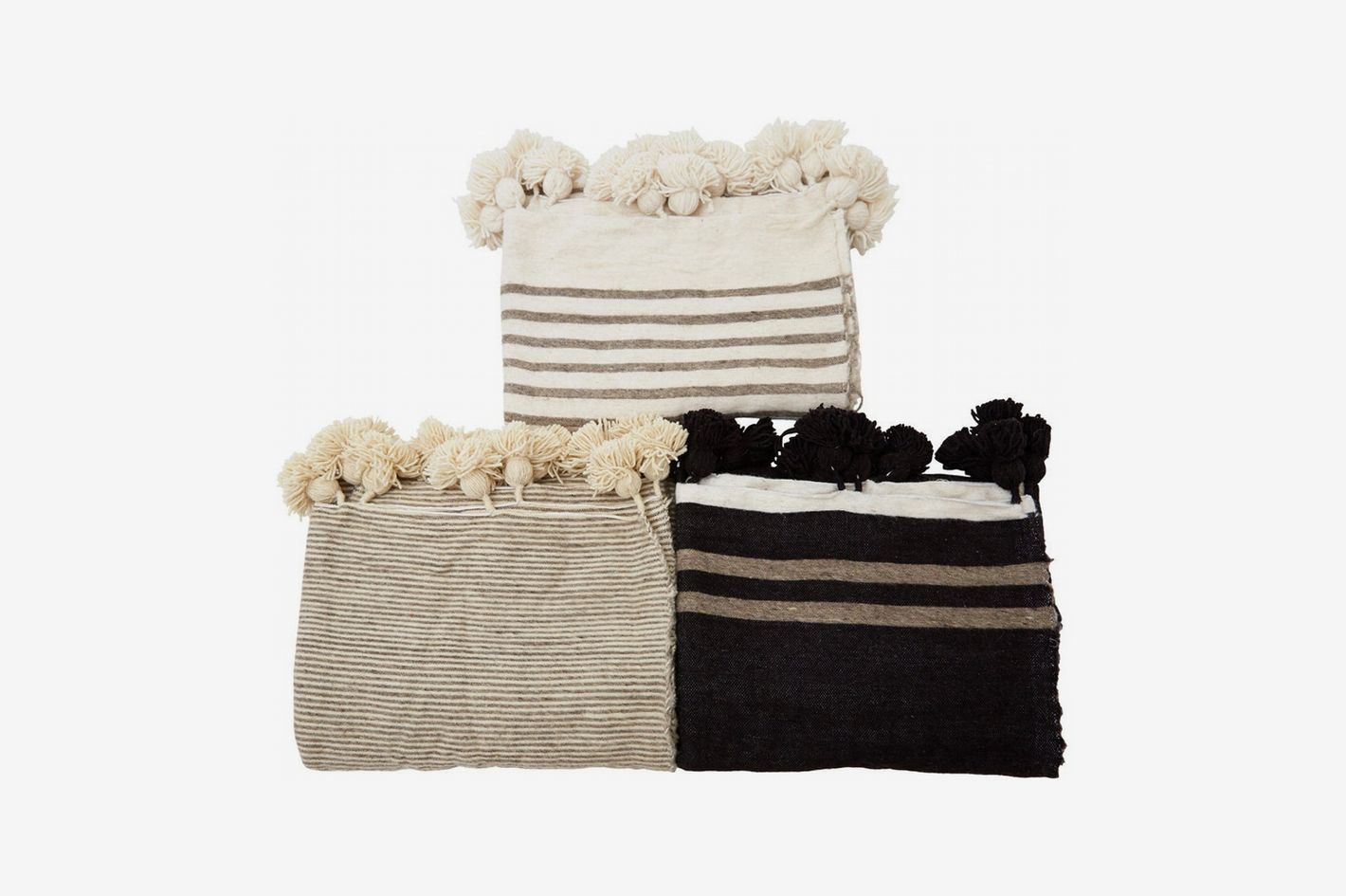 Jayson Home Pom Stripe Wool Blanket