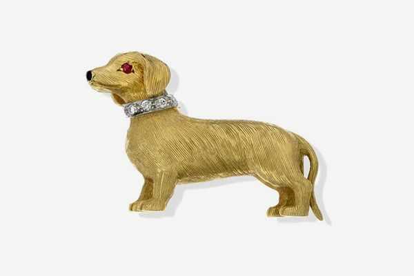 Scully & Scully 18k Gold Dachshund with Diamond Collar Pin