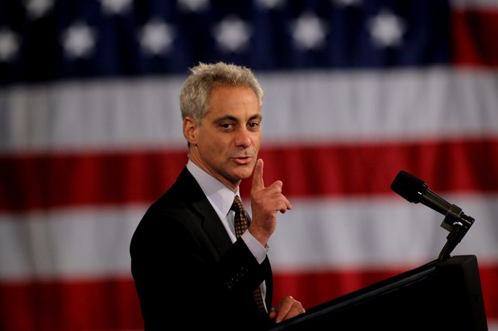 Former White House Chief of Staff and Current Mayor-elect of Chicago Rahm Emanuel speaks to supporters of  U.S. President Barack Obama during a campaign fundraiser at Navy Pier April 14, 2011 in Chicago, Illinois. The event was one of three fundraisers the president attended today in Chicago to help raise money for his 2012 re-election campaign. Tickets for the events ranged from $100 to the legal maximum of $35,800.