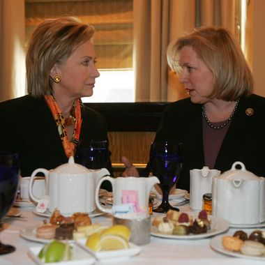 NEW YORK - JANUARY 25:  Senator-designate Rep. Kirsten Gillibrand (D-NY) (R) and U.S. Secretary of State Hillary Rodham Clinton look to each other during a lunch meeting with New York Gov. David A. Paterson and U.S. Sen. Charles Schumer at Waldorf-Astoria Hotel on January 25, 2009 in New York City. Gov. Paterson appointed Gillibrand to the U.S. Senate seat vacated by Clinton on January 23 in Albany, New York. Gillibrand is expected to be sworn in this week to serve in the U.S. Senate.  (Photo by Hiroko Masuike/Getty Images)
