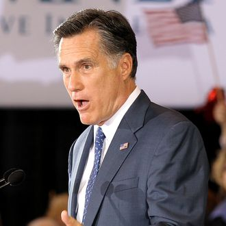 NOVI, MI - FEBRUARY 28: Republican presidential candidate, former Massachussetts Gov. Mitt Romney speaks during a primary night gathering at the Suburban Collections Showplace on February 28, 2012 in Novi, Michigan. Romney celebrated primary victories in Arizona and Michigan. (Photo by Justin Sullivan/Getty Images)