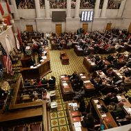 The House of Representatives meets on the opening day of the 109th General Assembly Tuesday, Jan. 13, 2015, in Nashville, Tenn. (AP Photo/Mark Humphrey)