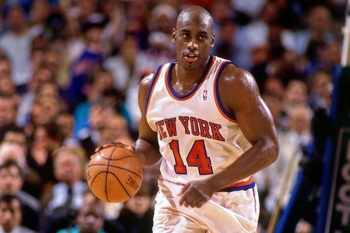 Anthony Mason #14 of the New York Knicks moves the ball up court against the Indiana Pacers in Game One of the Eastern Conference Finals during the 1994 NBA Playoffs at Madison Square Garden on May 24, 1994 in New York, New York.  The Knicks won 100-89.