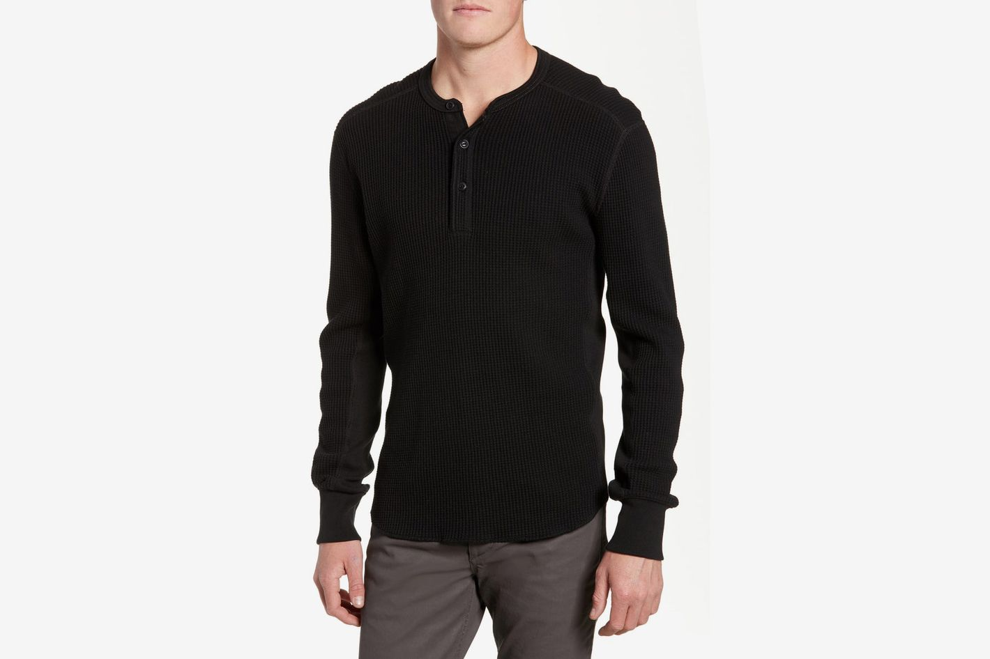 Rag & Bone Waffle Knit Long Sleeve Henley, Black