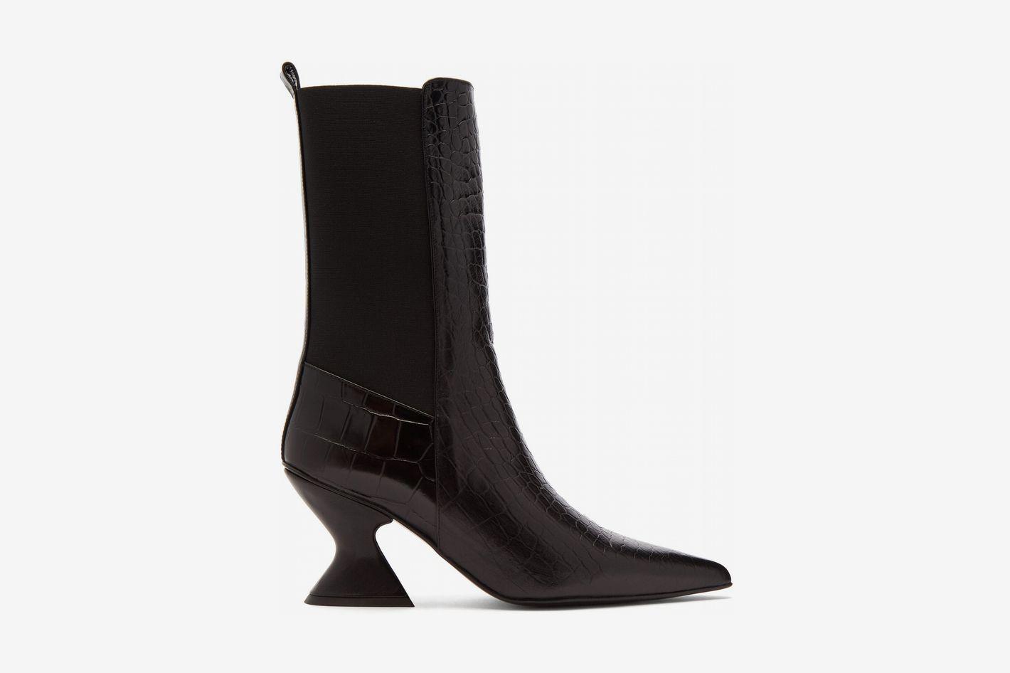 Marques'Almeida Hourglass-Heel Leather Chelsea Boots