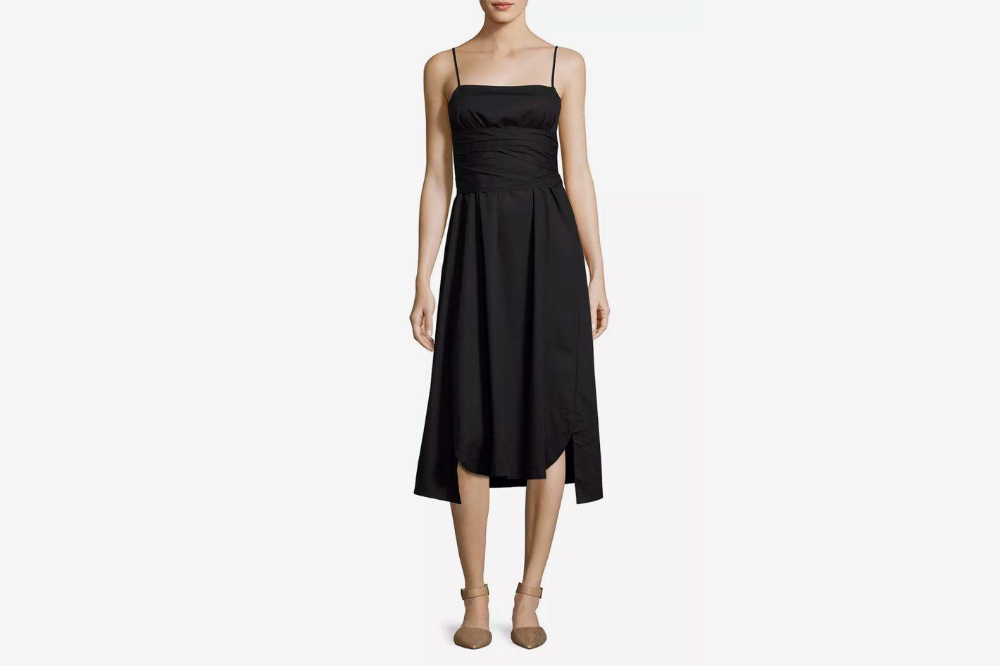 Elizabeth and James Oak Waist-Tie Poplin Midi Dress