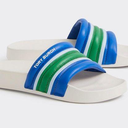 tory burch womens striped slide blue green