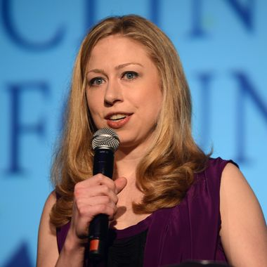 """LONDON, ENGLAND - MAY 22:  Chelsea Clinton speaks at """"A Night Out With The Millennium Network,"""" at the Old Vic Tunnels, presented by The Clinton Foundations and The Reuben Foundation. The evening, hosted by Bill Clinton, Chelsea Clinton, Gwyneth Paltrow and Will i Am took place on the 22nd May 2012 in London, England.  (Photo by Samir Hussein/Getty Images for Clinton Foundation Fundraiser)"""