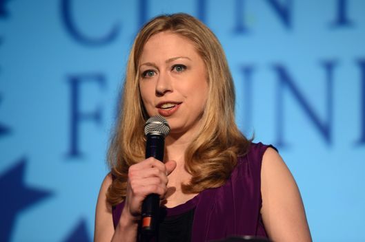 "LONDON, ENGLAND - MAY 22:  Chelsea Clinton speaks at ""A Night Out With The Millennium Network,"" at the Old Vic Tunnels, presented by The Clinton Foundations and The Reuben Foundation. The evening, hosted by Bill Clinton, Chelsea Clinton, Gwyneth Paltrow and Will i Am took place on the 22nd May 2012 in London, England.  (Photo by Samir Hussein/Getty Images for Clinton Foundation Fundraiser)"