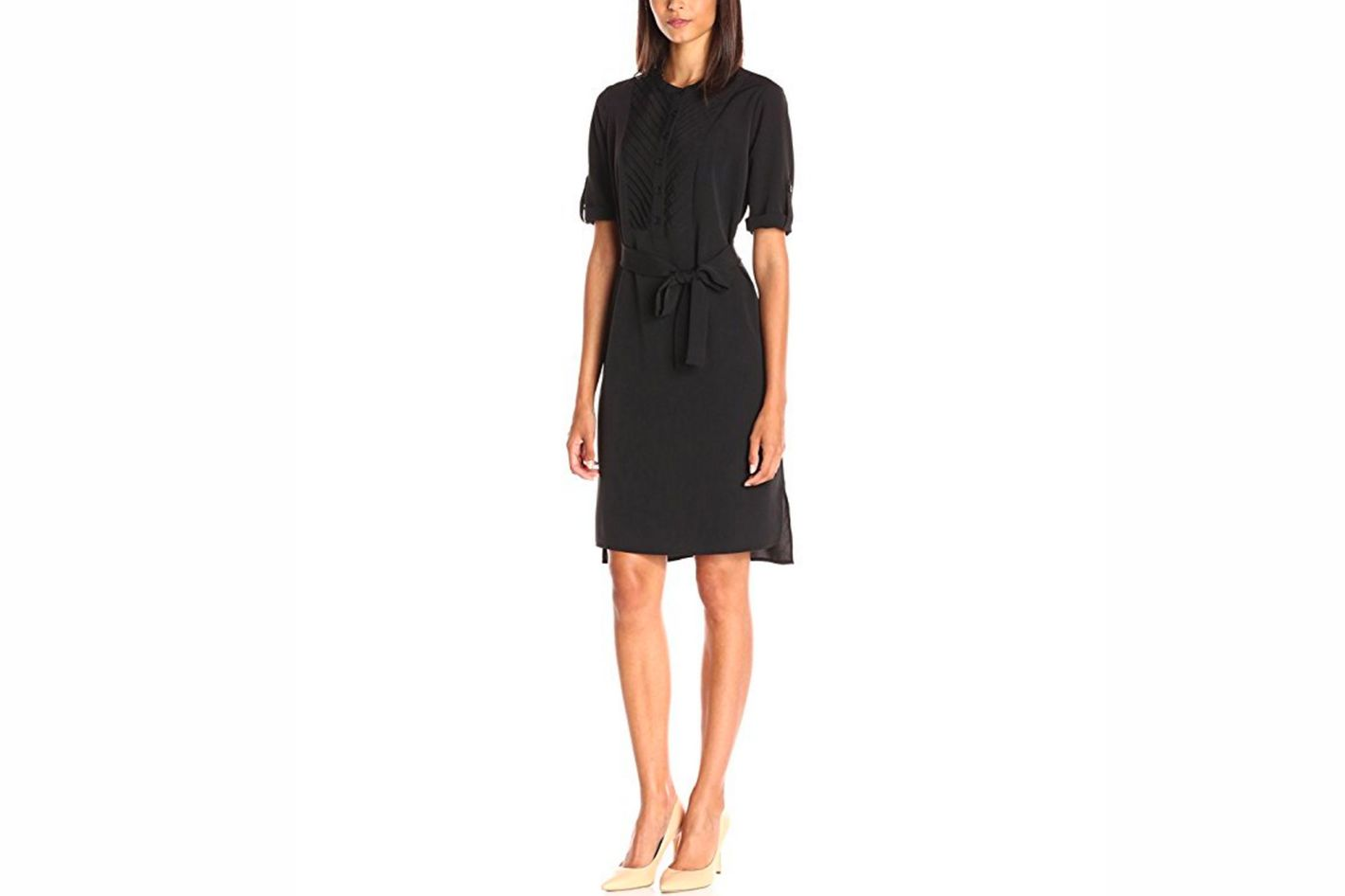 Lark & Ro Women's Elbow-Sleeve Shirtdress