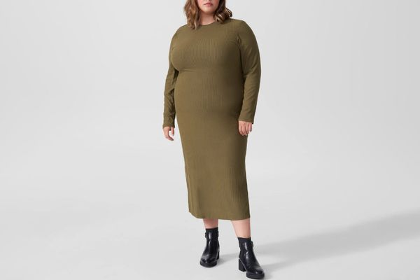 Universal Standard Lexi Long Sleeve Rib Maxi Dress
