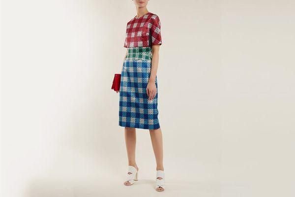 Mary Katrantzou Acacia Circle-Printed Gingham Satin Dress