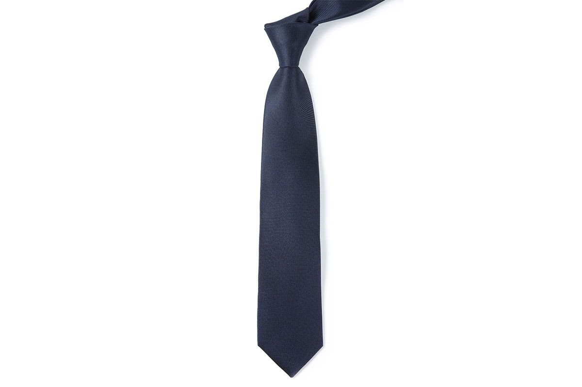 Woven Midnight Solid Textured Skinny Tie