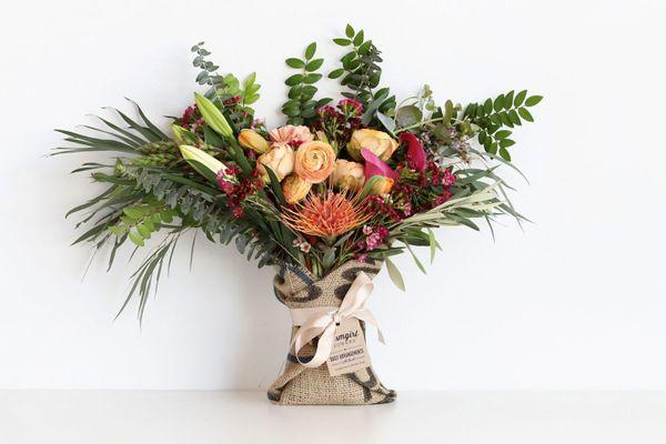 Farmgirl Flowers Fun-Size Burlap-Wrapped Bouquet