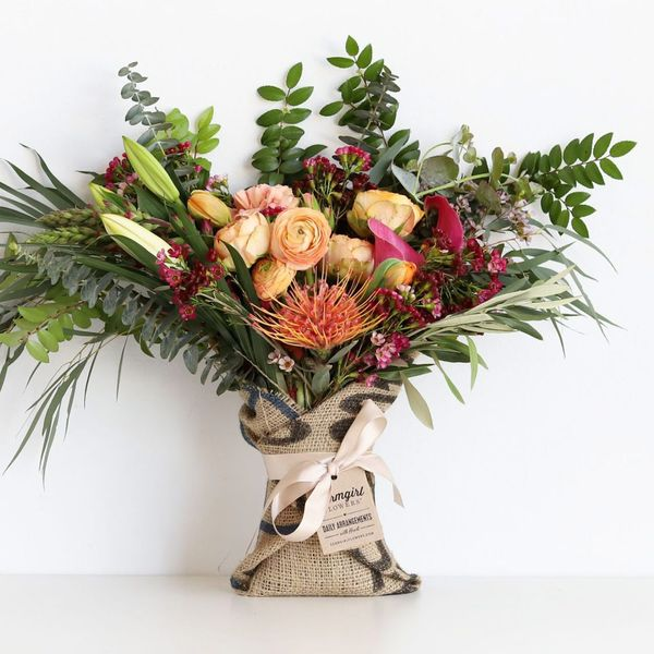 Farmgirl Flowers Fun-Size Burlap-Wrapped Bouquet