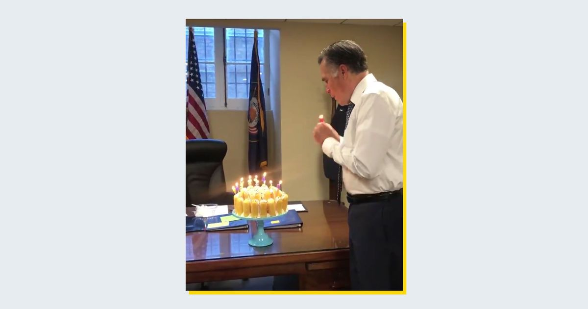 Mitt Romney Blows Out Birthday Candles One By