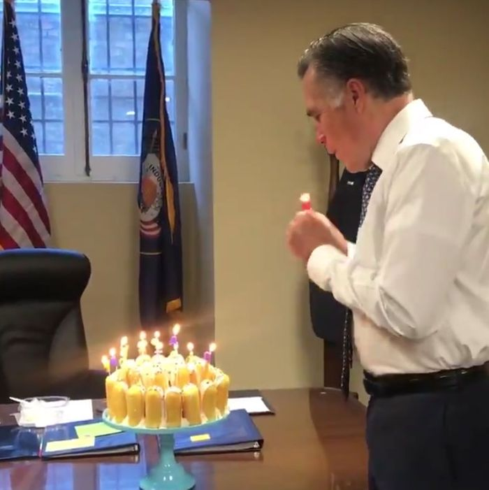 Mitt Romney Normal Man Celebrates 72 Solar Cycles With Twinkie Cake