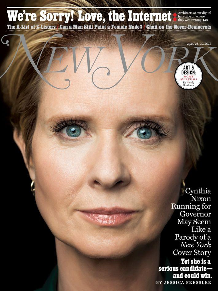 on the cover of new york magazine cynthia nixon new york media press room. Black Bedroom Furniture Sets. Home Design Ideas