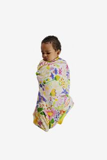 Kip&Co Meadow White Bamboo Baby Swaddle