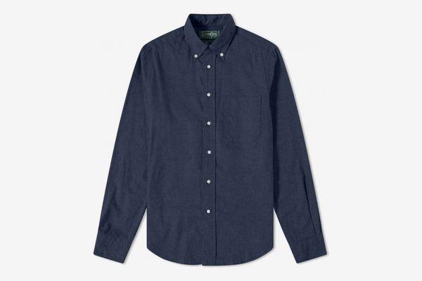 Gitman Vintage Button Down Classic Flannel Shirt Navy