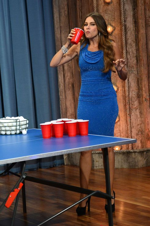 "Actress Sofia Vergara plays beer pong during her visit to ""Late Night With Jimmy Fallon"" at Rockefeller Center on September 27, 2012 in New York City."