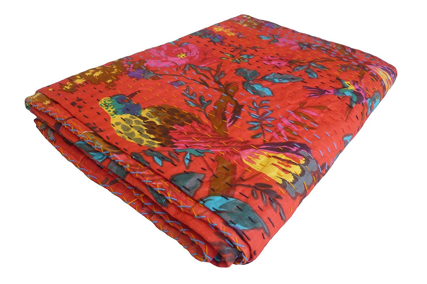 Colors Of Rajasthan Bird Print King Size Kantha Quilt