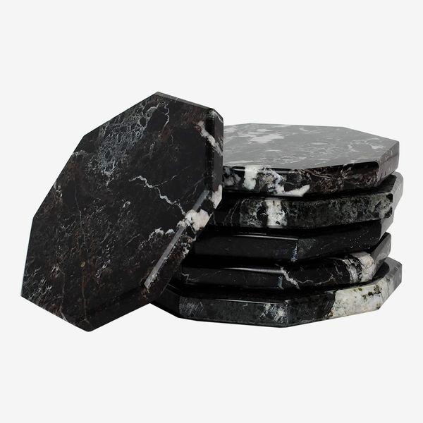 Radicaln Handmade Black Marble Coasters, Set of 6