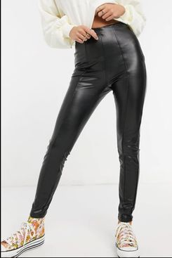 New Look leather-look legging in black