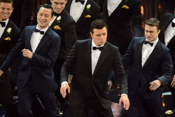 Joseph Gordon-Levitt, Seth MacFarlane and Daniel Radcliffe perform during the show at the 85th Annual Academy Awards on February 24, 2013 in Hollywood, California. AFP PHOTO/Robyn BECK        (Photo credit should read ROBYN BECK/AFP/Getty Images)
