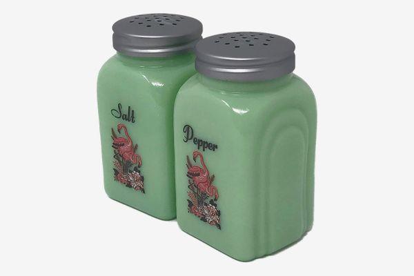 Generic Flamingo Bird Jadeite Glass Salt and Pepper Set