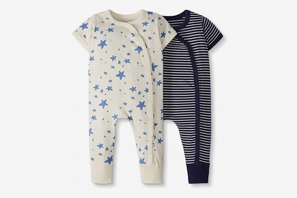 Moon and Back by Hanna Andersson Baby 2-Pack One-Piece Organic Cotton Short Sleeve Romper