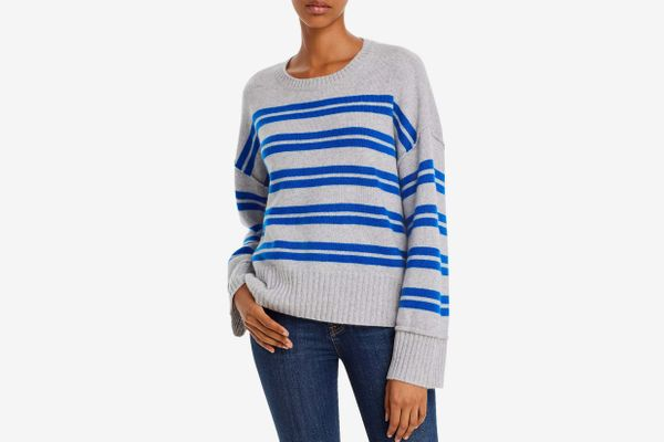 AQUA Cashmere Side-Button Striped Cashmere Sweater