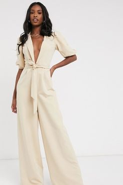 ASOS DESIGN Tall puff sleeve jumpsuit with self belt