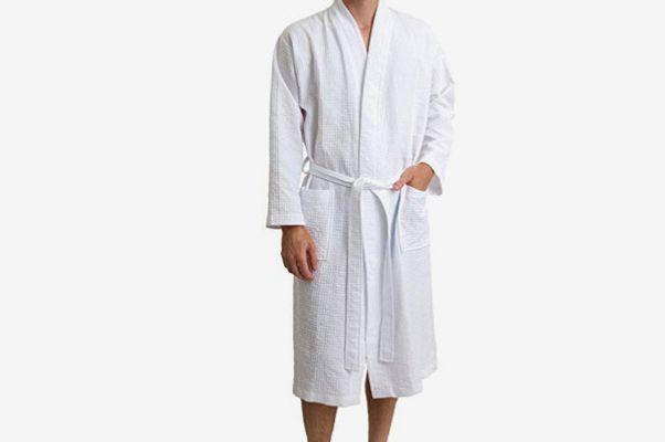 TowelSelections Men's Kimono Waffle Spa Bathrobe